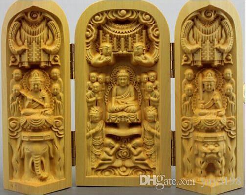 Livraison gratuite en gros Sam Shakya Muni Bouddha sculpture du Bouddha Bouddha et trois boîte