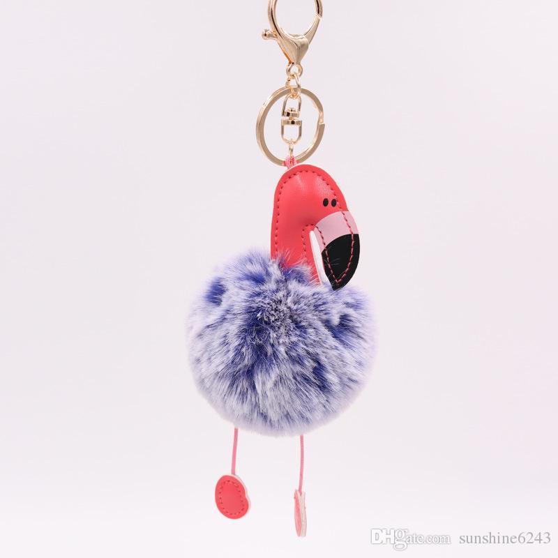 Cartoon Flamingo Keychain Fluffy Artificial Rabbit Fur Ball Key Chain Car Bag Key Ring Pendant