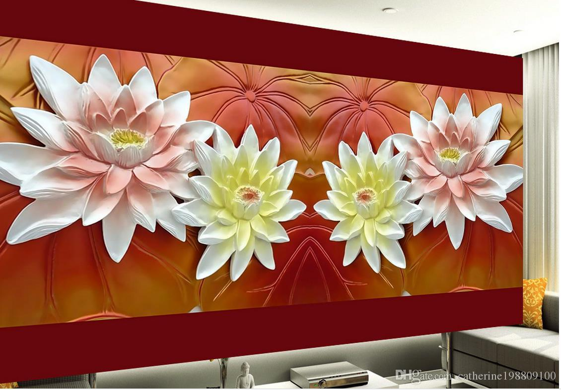 Hd relief three dimensional lotus mural tv wall mural 3d - Flower wallpaper mural ...
