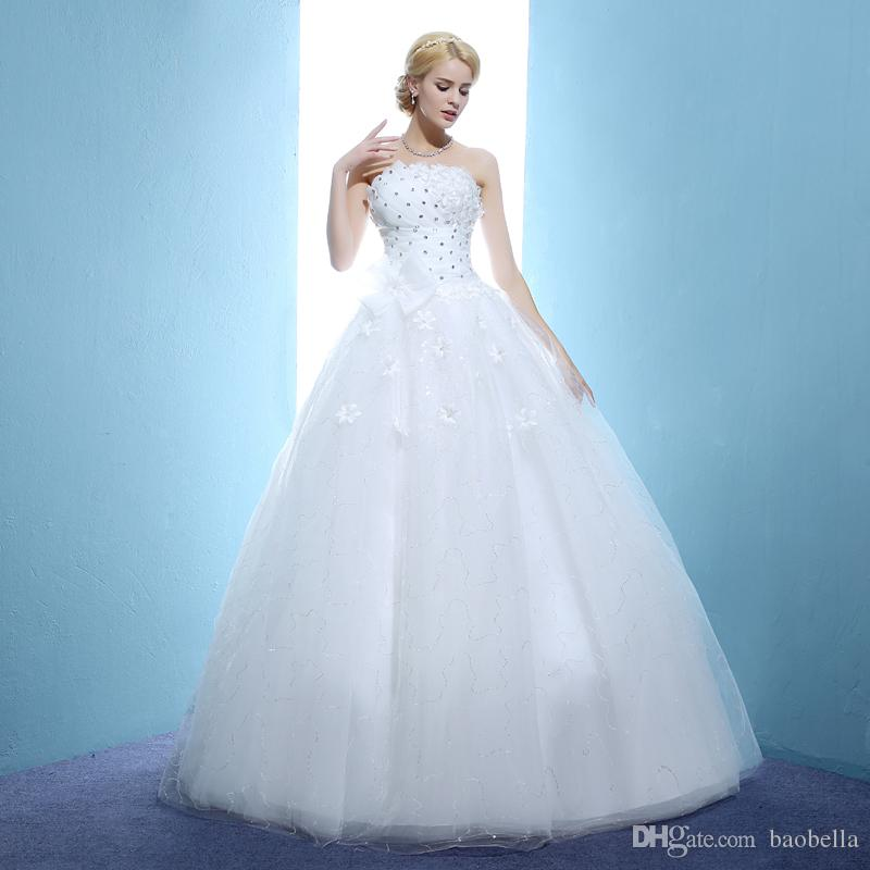 New Bow Cheap Train Wedding Dresses White Bride Wedding Frocks ...