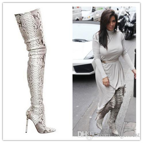 Fashion python leather boots snakeskin pattern pointed toe womens thigh high boots over the knee high heeled boots women's shoes
