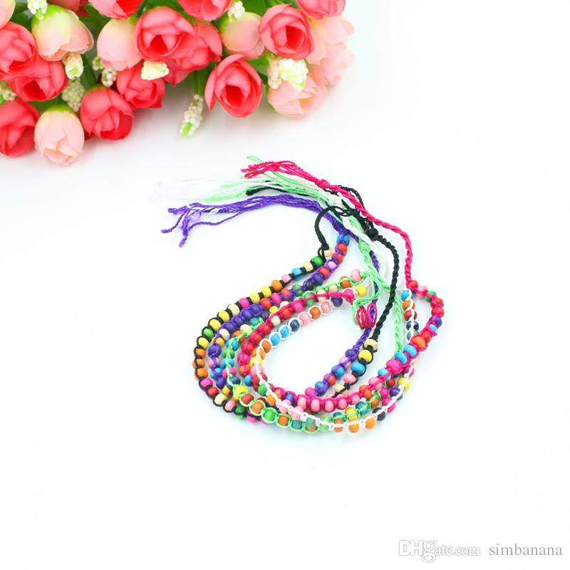 joyería de moda secuencia de la cuerda de la armadura de pequeñas perlas pulseras de la amistad del encanto hecho a mano / pulseras Strand