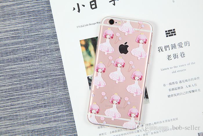 Para a apple iphone 7 plus 6 s tampa traseira transparente tpu suave padrões claros dos desenhos animados casos para samsung s7 s8 edge s6