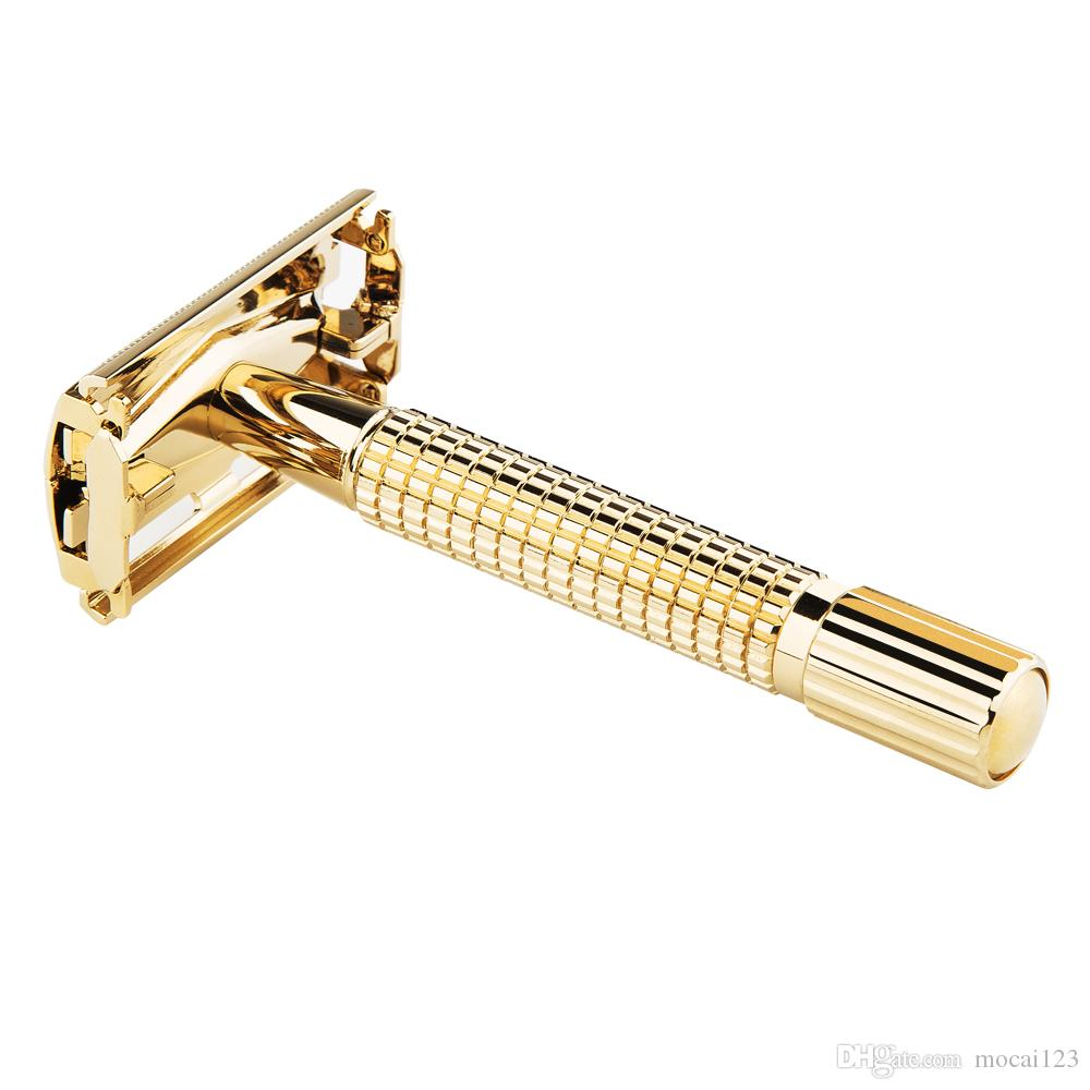 1 Razor 10 Blades WEISHI Men's Shaving Classic Double Edge Razors Brass Metal Safety Razor Manual Shaver Gold