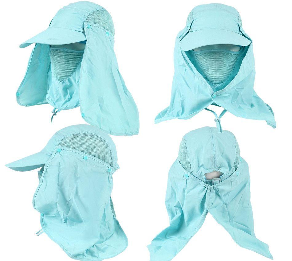 20 adet / grup Yeni Dış Güneş UV Koruma Balıkçılık Şapka Ile Çıkarılabilir NeckFace Flap Kapak Yürüyüş Kamp Visor ZL3026 Caps