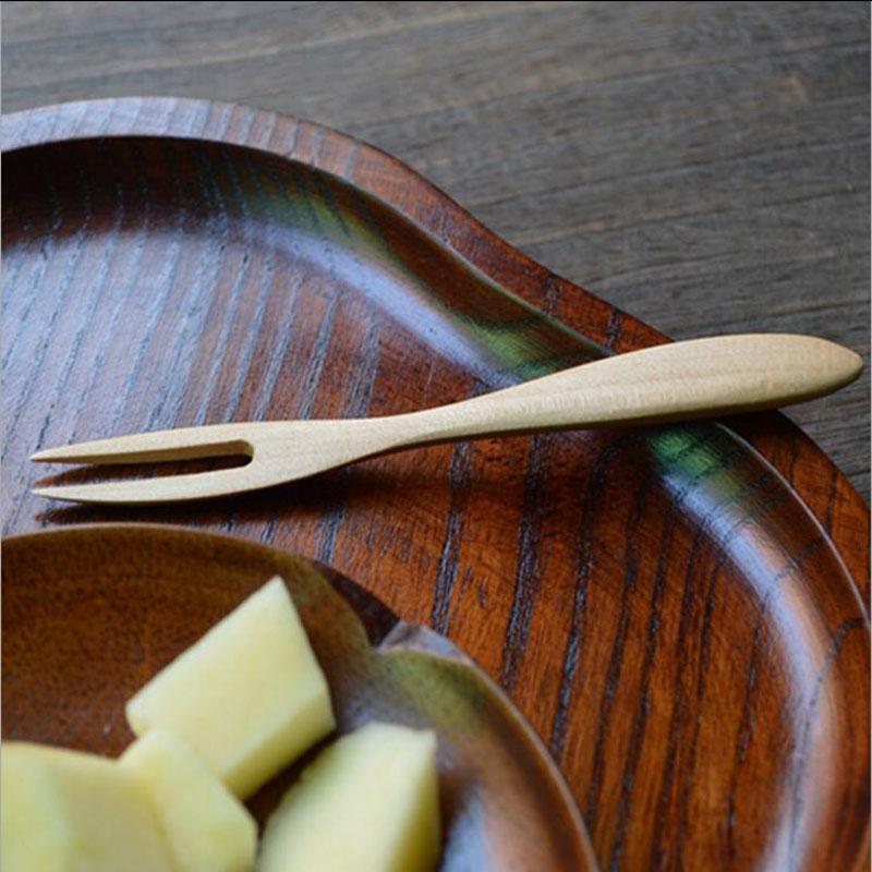 12 * 1.4cm 디저트 포크 Burlywood 고무 나무 케이크 아이스크림 포크 패션 일본식 주방 Flatware