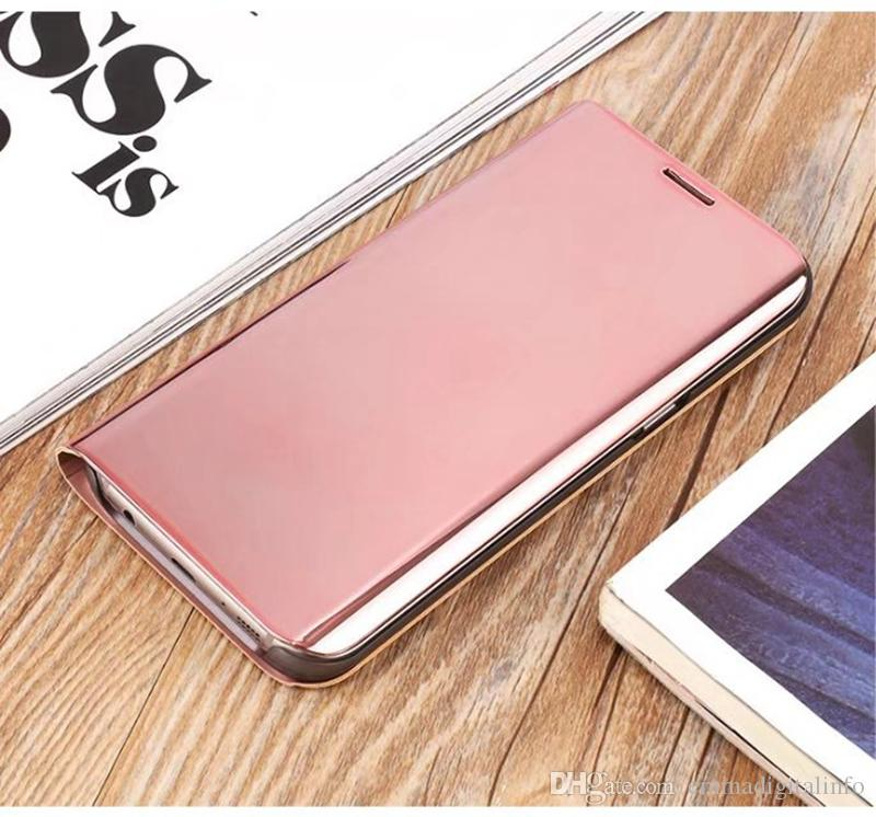 Plating Mirror Flip Cover Phone Case for Samsung Galaxy S6 Edge Plus S7 Edge S7 S6 Note 5 Smart View Phone Cases + Kickstand Function