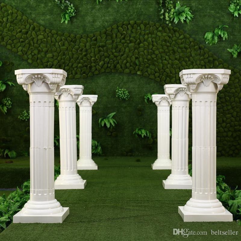 Wedding Flower Pillars: Hollow Flower Design Roman Columns White Color Plastic
