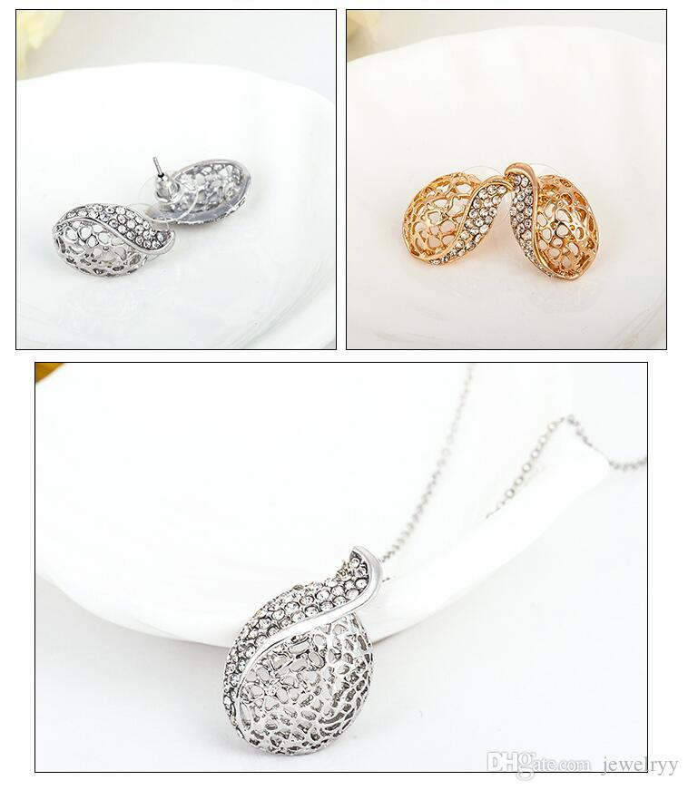 European Style Gold Plated Hollow Leaf Crystal Earring & Neckalce Set Bridal Wedding Jewelry Set Stud Earrings and Necklaces For Women