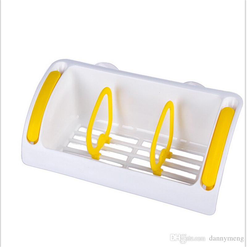 Useful Kitchen Double Suction Cup Sink Shelf Soap Sponge Drain Rack Kitchen Sucker Storage Tool