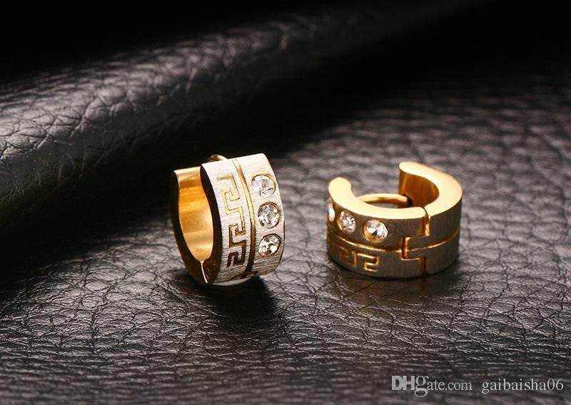 Plaqué Or Boucles D'oreilles Pour Femmes Grec Clé Motif Classique Mignon Cristal CZ Bijoux En Gros EH-157