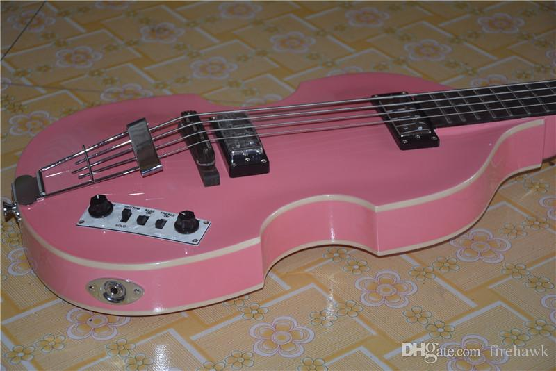 China OEM Contemporary Series Violin Bass Guitar 4 String Bass New Style electric bass.Pink Bess.EMS