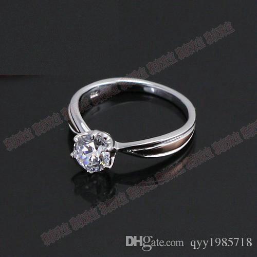 Großhandel Schmuck 0.8CT Qualität Sterling Silber Weißes Gold Farbe Synthetische Diamanten Ring Engagement Frauen Solitaire Ring Hochzeit Schmuck