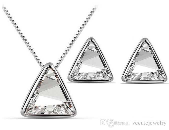 18K Gold Silver Plated Triangle Austrian Crystal Necklace Earrings Jewelry Set for Women Wedding Jewelry Set Wholesale Price