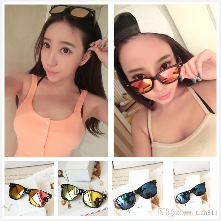 Llegadas Moda mujer gafas de sol lente plana espejo marco de metal rana espejo gafas de sol envío gratis CA163