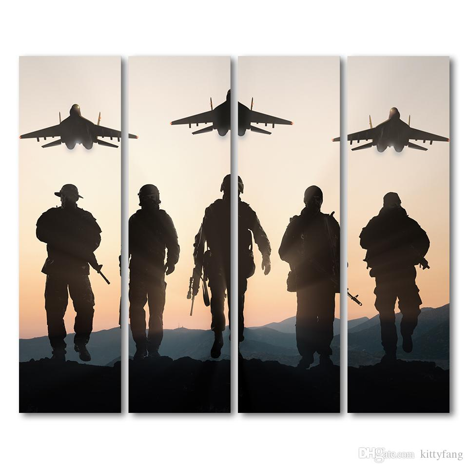 canvas airplane sunset army posters and prints wall decorations living room decor poster print /up-1327D