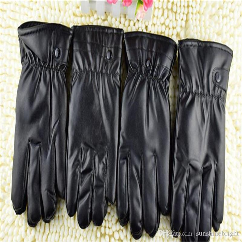 New Winter Warm Leather Full Finger Motorcycle Gloves Women Black PU Touch Screen Gloves Soft Smartphone Wrist Gloves For Mob