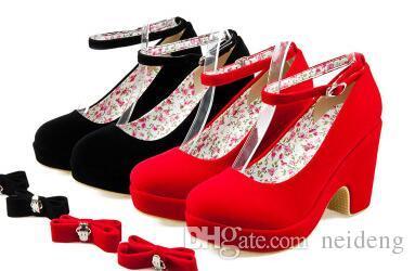 2 Couleurs À Multifunctiona Habillées Shoes Bride La Cheville Noir Escarpins Rouge Chaussures Talon Compensé UGSjLqzMVp