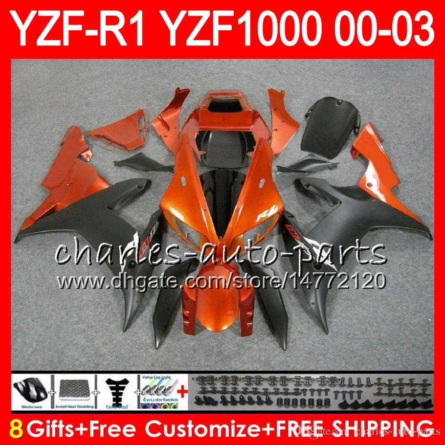 8Gift Body For YAMAHA YZF R1 YZF 1000 YZFR1 02 03 00 01 62HM17 YZF1000 R 1 YZF-R1000 YZF-R1 2002 2003 2000 Orange black 2001 Fairing