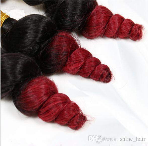 Virgin Malaysian #1B/Red Ombre Hair Dark Roots Two Tone Human Hair Weaves 9A Malaysian Loose Wave 3Bundles Ombre Hair Wefts