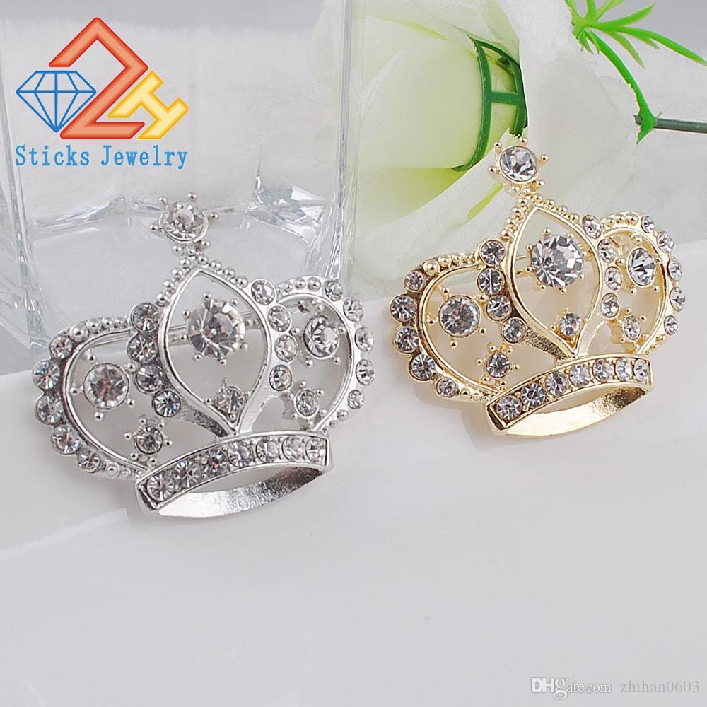Spilla femminile a forma di corona Spilla da sposa di fidanzamento bianca con cristallo simulato