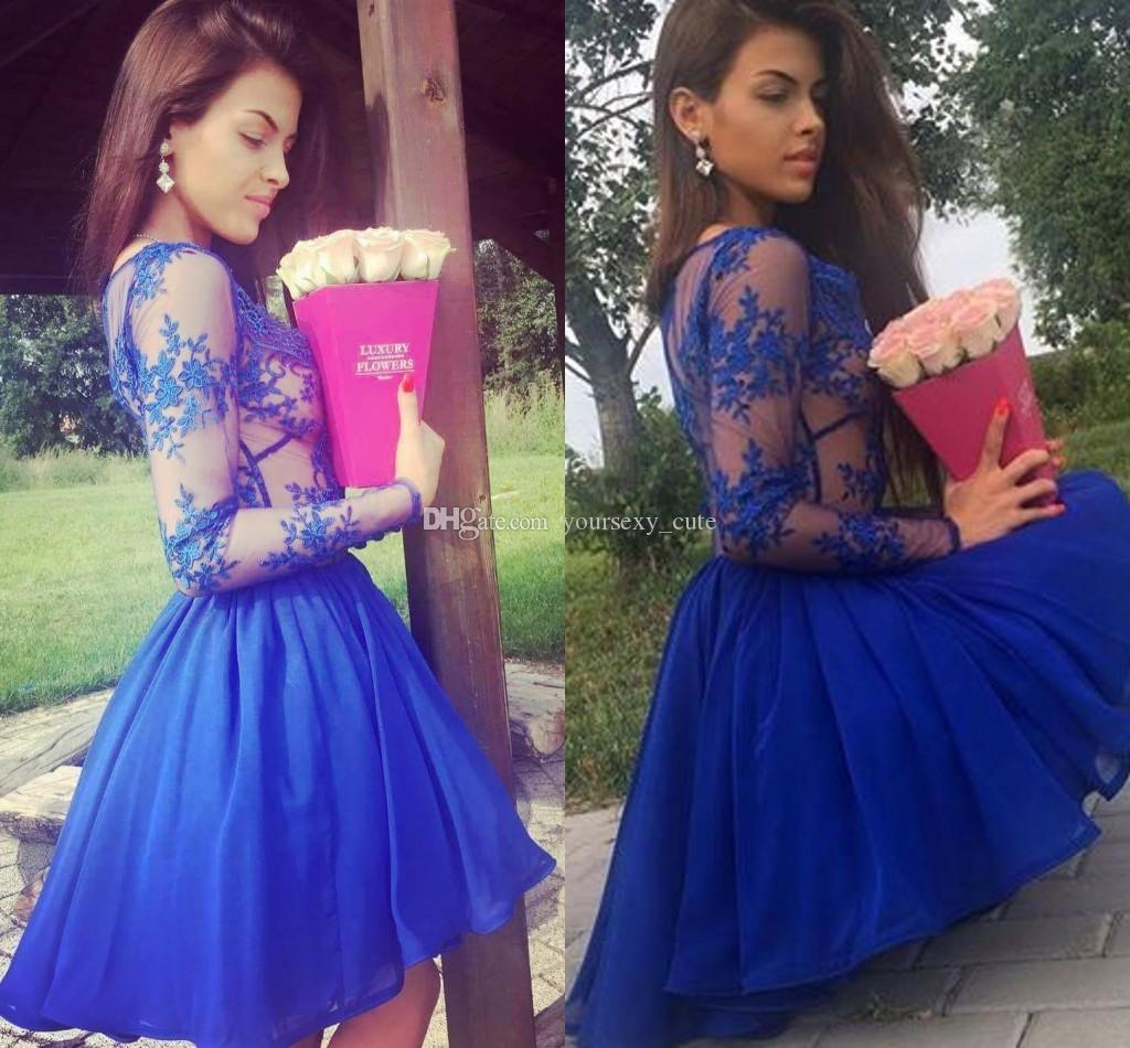 Purple Blue Short Sleeve Prom Dresses