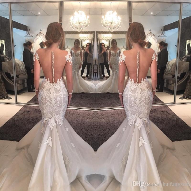 Vintage Sirène Robe de mariée à manches longues en V Coulée en V Coulée Vestidos de Novia Sweep Sheer Haute Qualité Robes de mariée