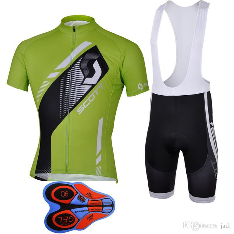 Scott 2017 Short Sleeves Cycling Jerseys Compressed With 9D Gel Padded Bib Pants Summer Style For MEN Size S-4XL Bike Wear F2101
