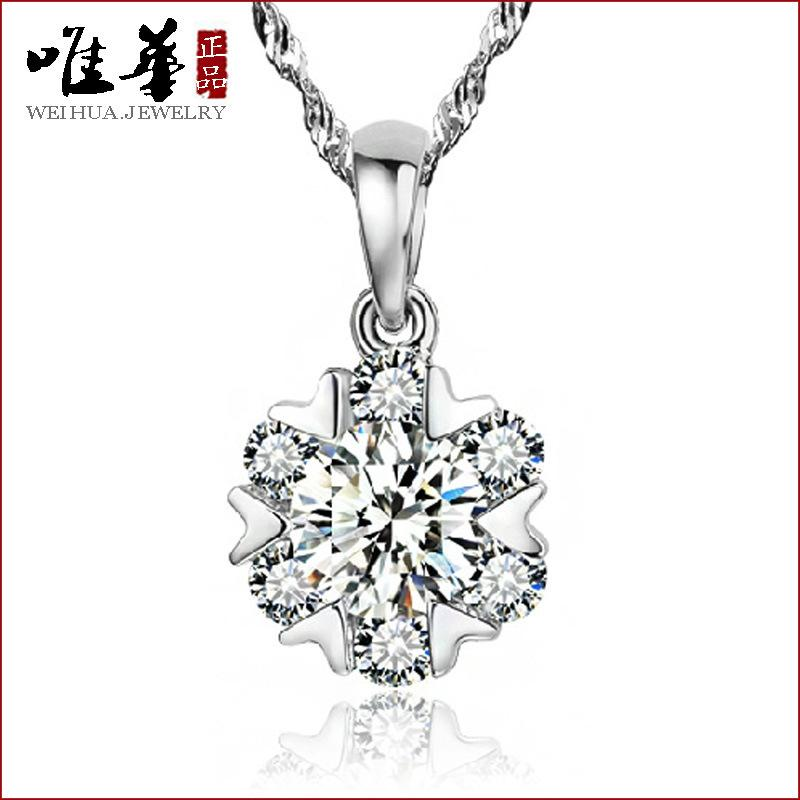 Wholesale silver plated silver pendants korean female short wholesale silver plated silver pendants korean female short paragraph snowflake charms necklace charm vials pendant yellow pendant diy online with mozeypictures Choice Image