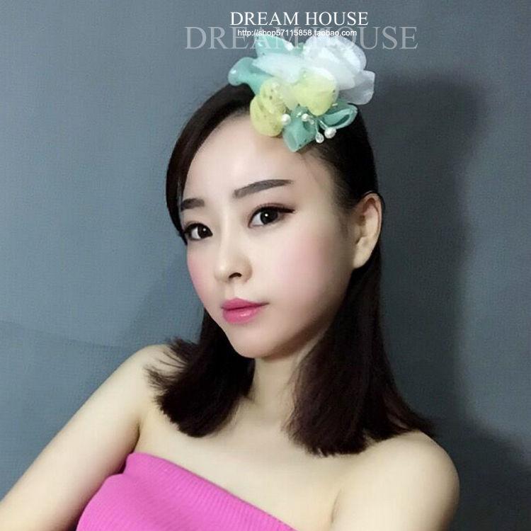 Woman headdress hair Retro Korean, European and American brides, ornaments, green yellow, toast and kimono accessories, chiffon, small flowe