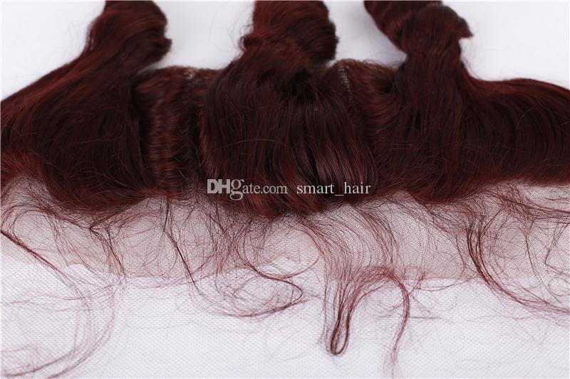 Fasci di capelli sciolti onda con pizzo frontale colore # 99j orecchio a orecchio frontale pieno di pizzo con capelli bordeaux tesse estensione