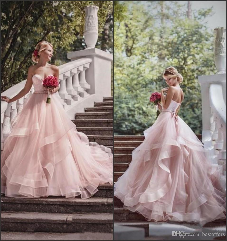 Blush Tulle Fabulous Wedding Dresses Ball Gowns 2017 Sweetheart ...