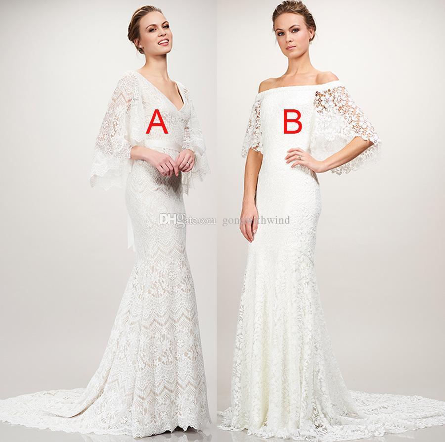 Bell Sleeve Wedding Dress: Flowy Bell Sleeve Mermaid Lace Wedding Dresses 2018