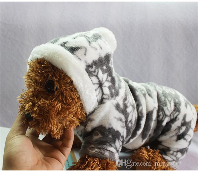Winter Small Pet Dog Coat Snowflake Deer Dogs Fleece Warmer Cloth Chrismas Hooded Jacket