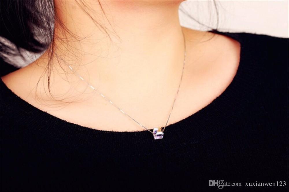 최고 품질의 간단한 사랑 광장 크리스탈 목걸이 골드 도금 패션 주얼리 어머니의 날 선물 Free Pendant