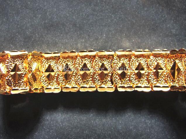 4 estilo Elija a estrenar HOMBRES 24K ORO AMARILLO GEP SOLID FILL GP BRACELET Pulsera de oro de los hombres de moda 8