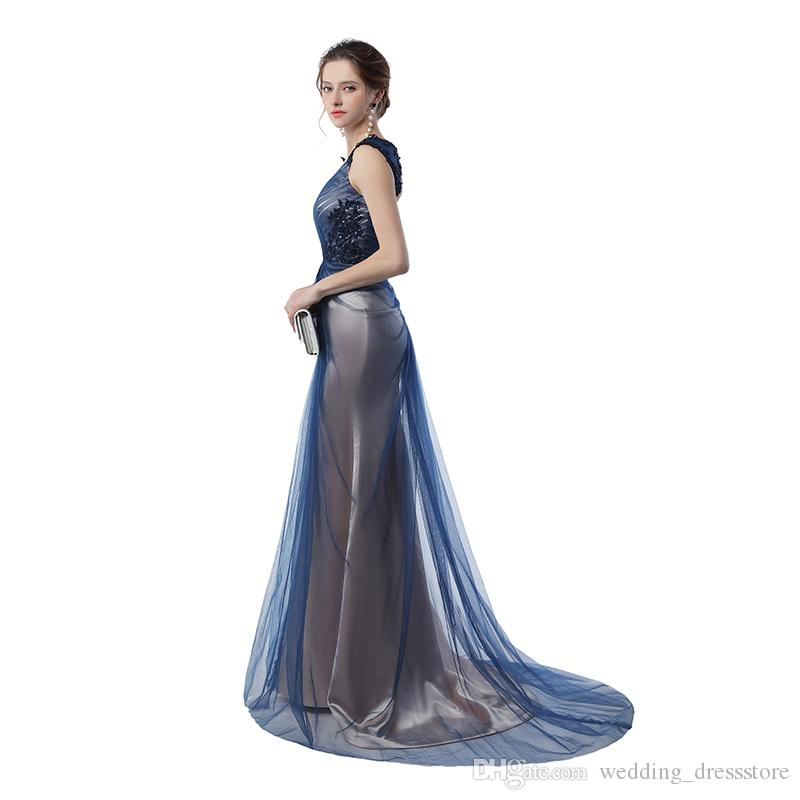 Real Pictures Navy Blue Mermaid Evening Gowns 2017 Grey Color Vintage Party Gowns Prom Dresses