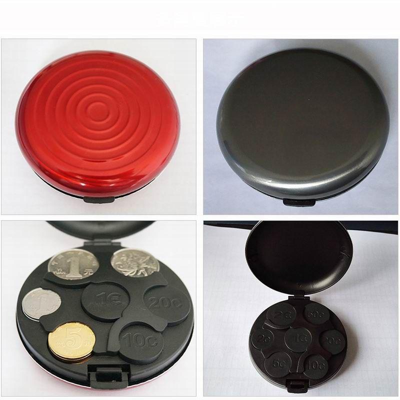 DUNFA Moda Rodada Euro Coin Dispenser Moedas De Armazenamento Bolsa Carteira Titulares Caixa De Armazenamento De Liga De Alumínio + Plástico Moedas Bolsa Carteira