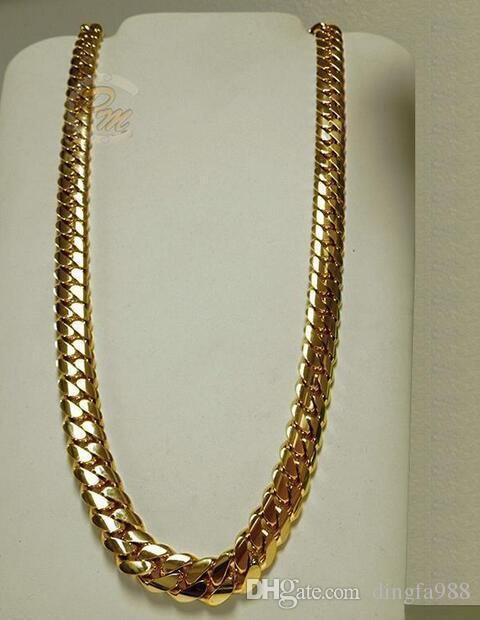 c55da5243efe Compre Collar De Cadena De Eslabones De Eslabones Cubanos De 14K Oro Miami  Para Hombre 24 A  22.12 Del Dingfa988