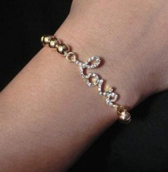 Kadınlar Kristal Rhinestone Çapraz Aşk Infinity Streç Elmas Boncuklu Bileklik Bilezik Hediye Altın Gümüş Boncuklu Zincir Bilezikler Noel Hediyesi