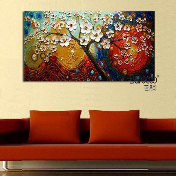 Flores de color Árbol Pintura abstracta 100% Pintado a mano Cuchillo de paleta Pintura al óleo Moderno Arte de la pared Decoración Hogar