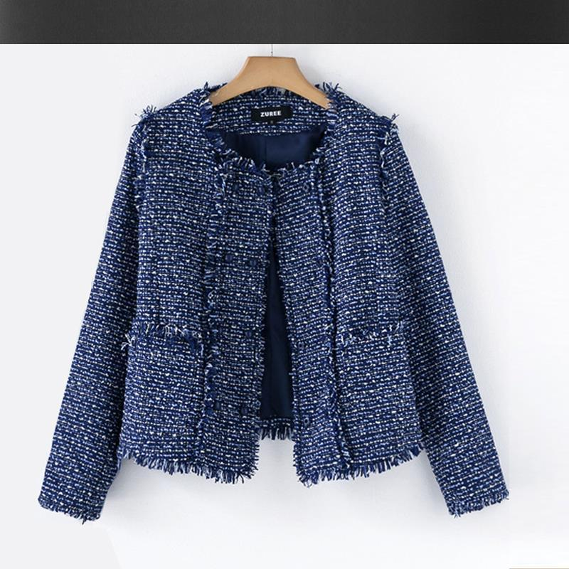 Blue Tweed Jacket Autumn / Winter High End Women'S Coat Small ...