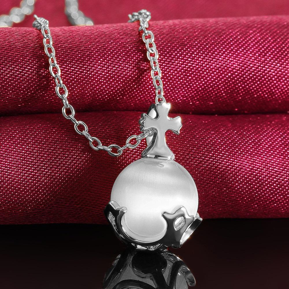 Collana rotonda opale di modo il regalo all'ingrosso dei gioielli del platino placcato oro rosa / platino placcato pendenti delle collane di fascino della ragazza delle donne Trasporto libero
