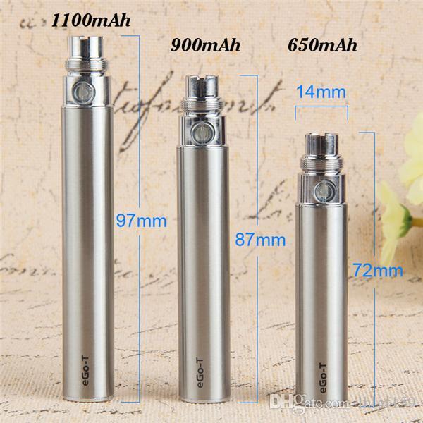 EGO-T 650 900 1100 MAH VAPE PEN 510 Batteri Ego Batterier för Bud Glaspatron Keramiska Vaporizer Ecigs