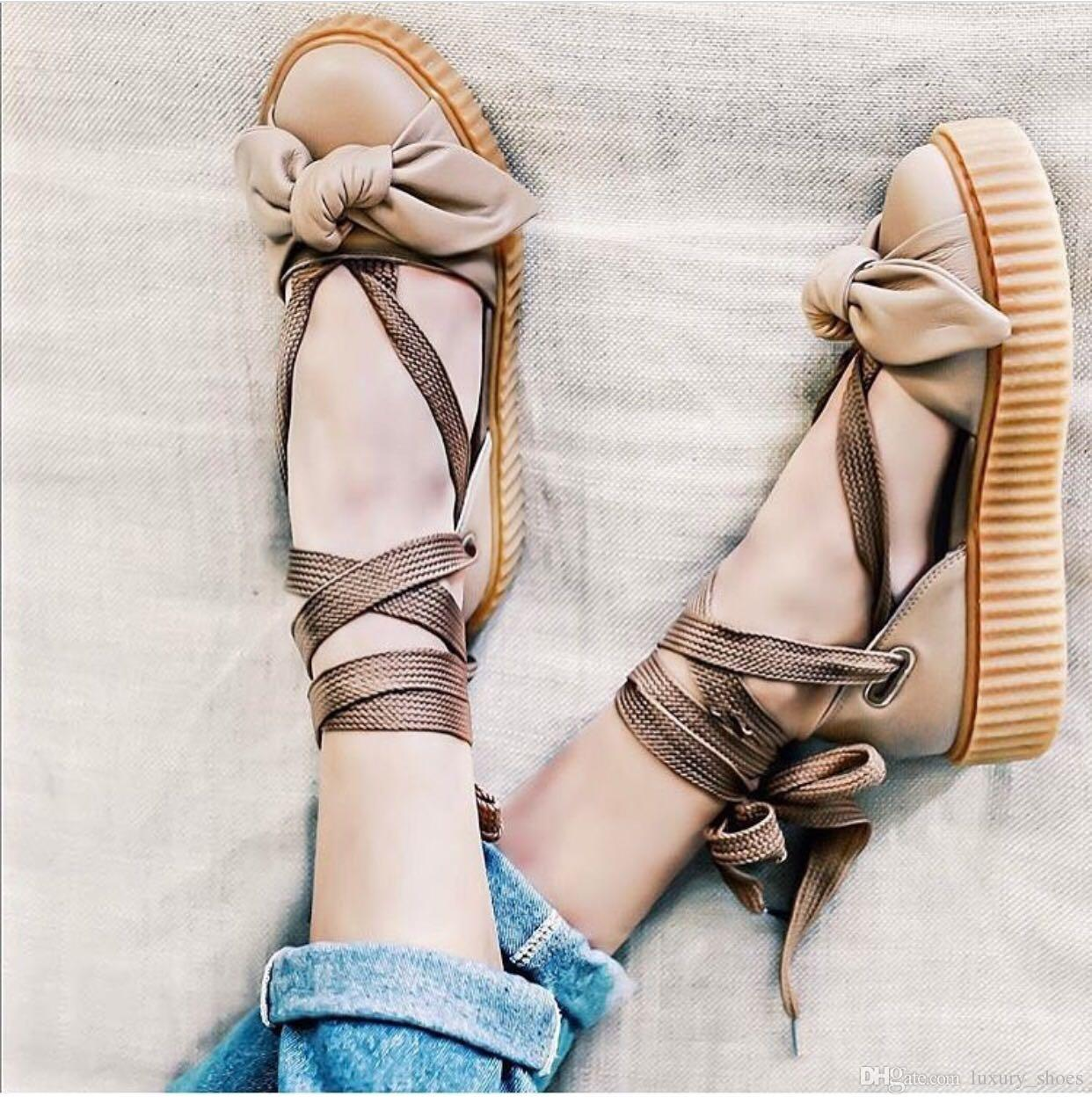 more photos 3dba6 3b86b Rihanna Style Limited Edition Bow Creeper Sandal Women Sneakers Ankle Wrap  Lace Up Leather Ballet Flats Shoes Size 35 40 Bridal Shoes Cheap Shoes From  ...