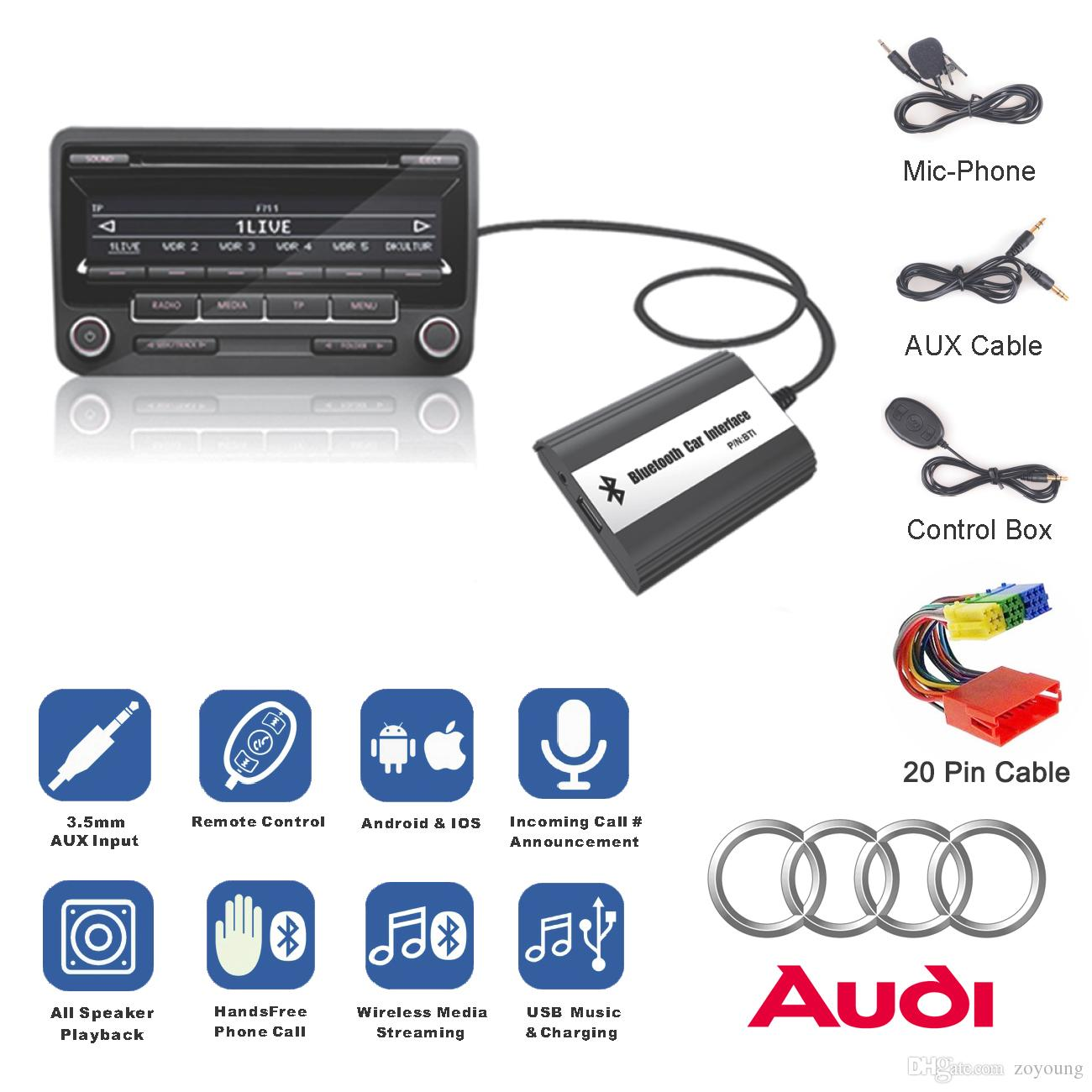 Bluetooth A2DP manos libres coche Kit USB Flash Drive coche adaptador estéreo interfaz para 1998-2006 Audi A2 A3 A4 A6 A8 TT AllRoad