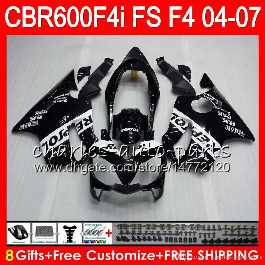 8Gifts Honda CBR 600 F4i CBR600F4i 04 05 06 07 AAHM2 CBR600FS FS CBR600 F4i CBR 600F4i 2004 2005 2006 2007 Repsol carenatura nera