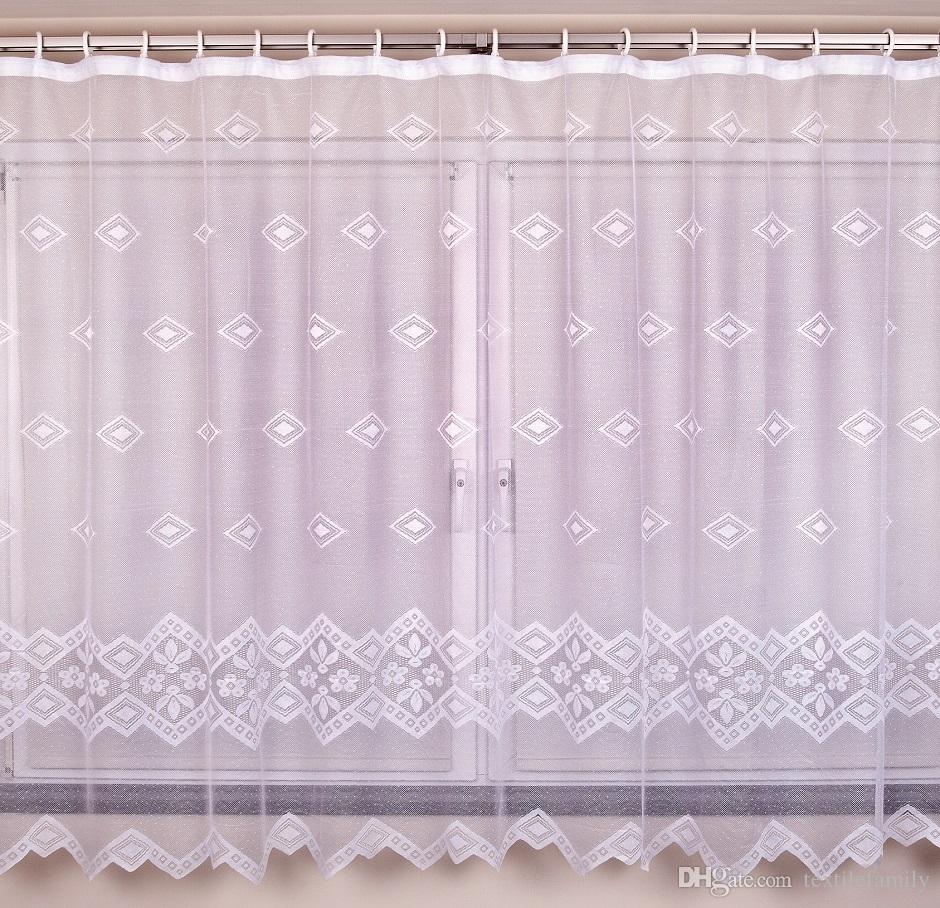 Garten Neue Polyester-Spitze Fenster Gardinen mit Band Drop Blumenspitze stieg Vorhänge großes Netz Gardinen Kinder Vorhang