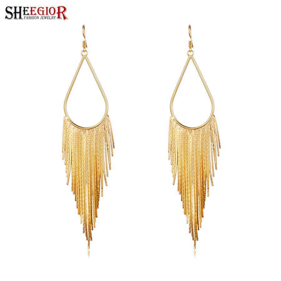 Brand Gold Long Earrings for Women Fine Jewelry Silver Black Drop ...