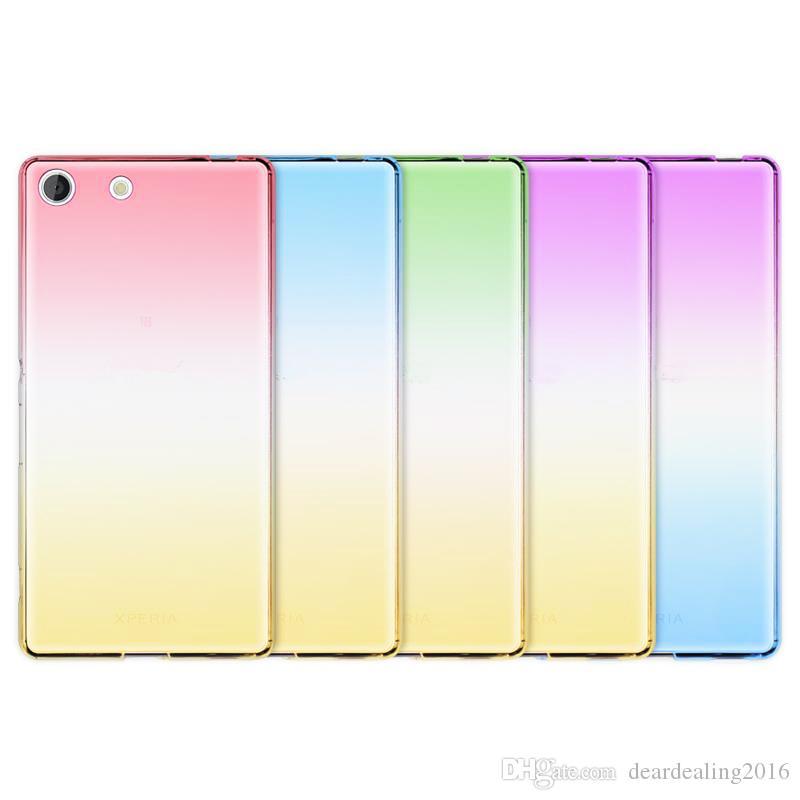 Мода мягкие TPU градиент цвета задняя крышка чехол для Sony Xperia Z3 компактный Z5 M5 M4 Aqua мини прозрачный случаях